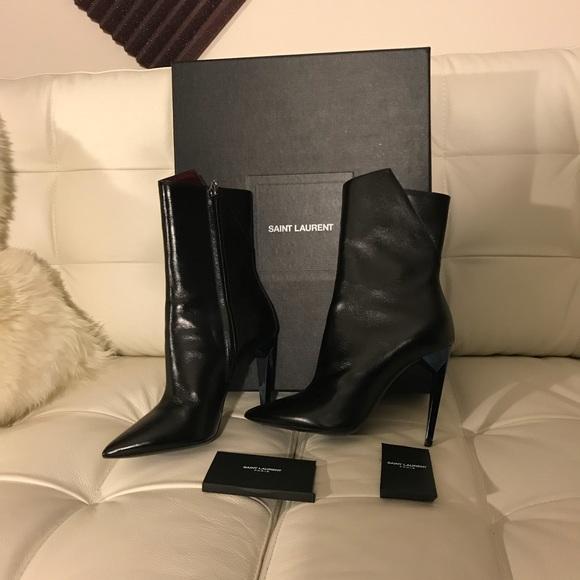 eed6797d089 Saint Laurent Shoes | Freja 105 Bootie W Blue Heel | Poshmark